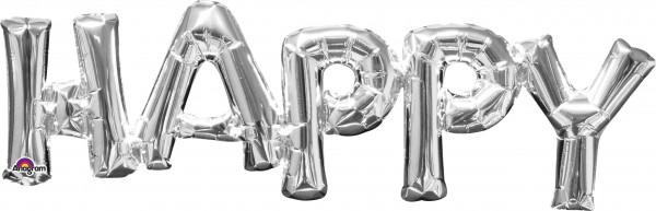 Ballon aluminium lettrage Happy silver 76x25cm