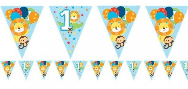 Cadena de banderines First Wild Birthday de 3,7 m