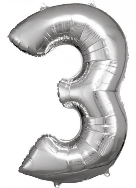 Zilveren nummer 3 folieballon 86cm