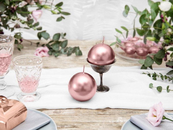 6 Ball Candles Torino Rose Gold 8cm