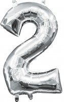 Mini Folienballon Zahl 2 silber 35cm