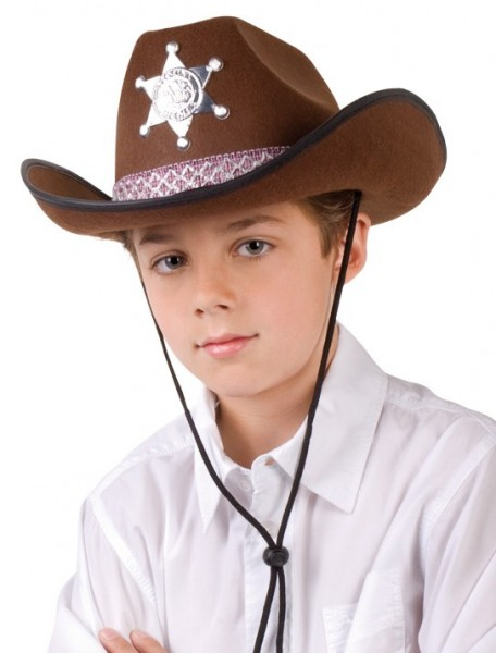 Kowbojski kapelusz szeryfa dla dzieci brązowy