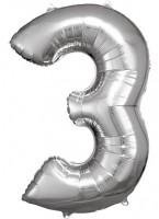 Silberner Zahl 3 Folienballon 86cm