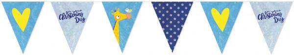 Cadena de banderín del día de bautizo azul 4m