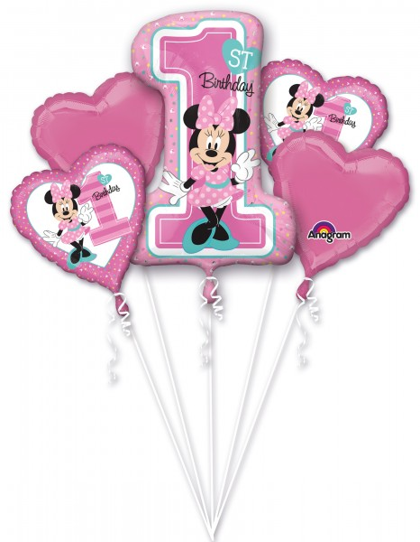 5 Ballons Minnie Mouse 1 Geburtstag rosa