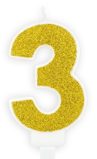Gouden glinsterende cakekaars nummer 3