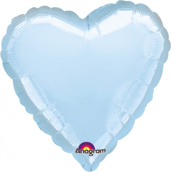 Hartballon Linda in pastelblauw 43cm