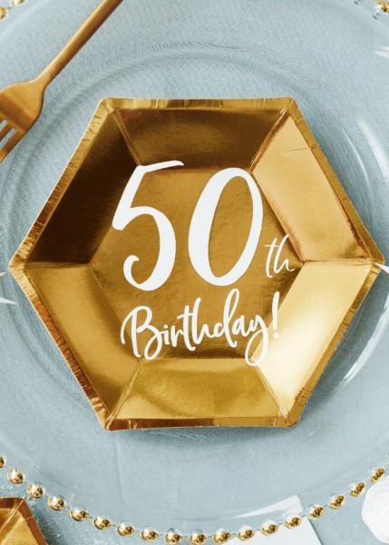 6 assiettes brillantes 50e anniversaire 20x17cm