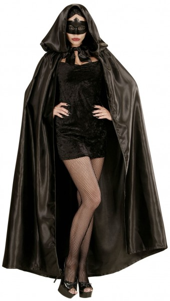 Elegant satin cape with hood 152cm