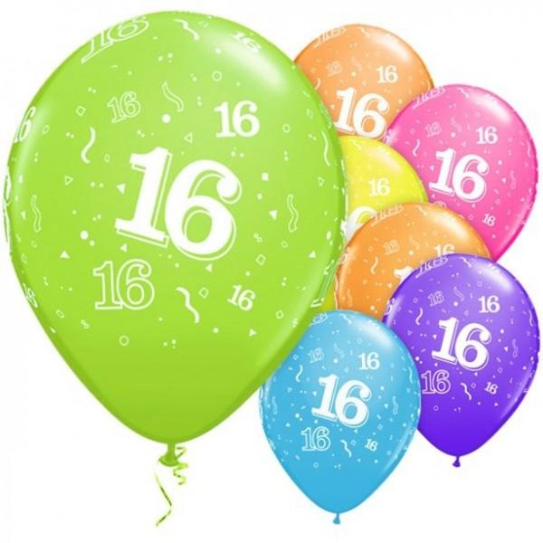 6 bunte Latexballons 16. Geburtstag 28cm