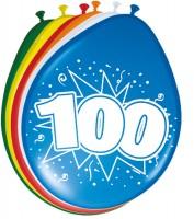 8 Ballons Geburtstagskracher Zahl 100