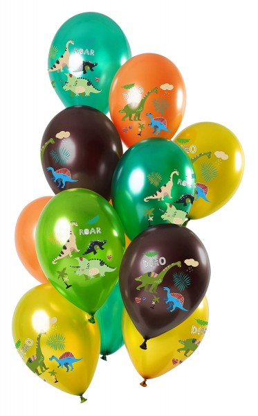 12 latex balloons dinosaur green metallic