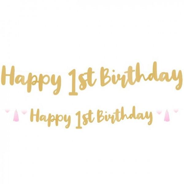 Guirlande pompon 1er anniversaire effet ombre 180cm