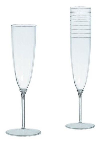 8 plastic champagne glasses Cin Cin 142ml