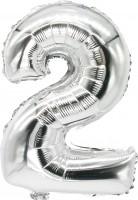 Folienballon Zahl 2 silber 43cm