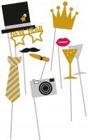 10 Golden New Year Foto Requisiten