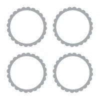 20 self-adhesive labels with silver flower border