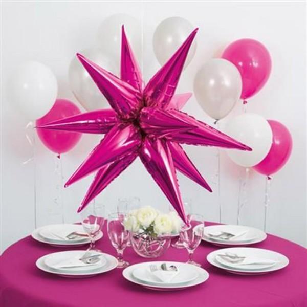Palloncino foil Happy Sparkling 3D Star rosa