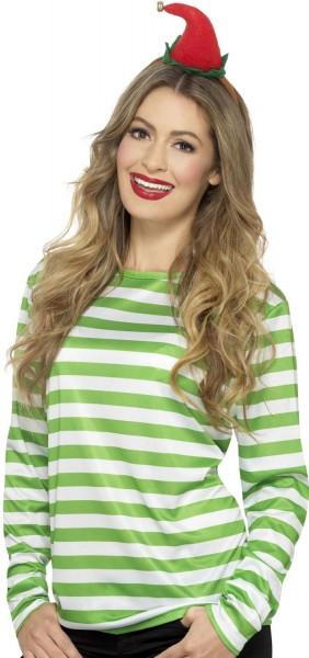 Long sleeve striped shirt green-white