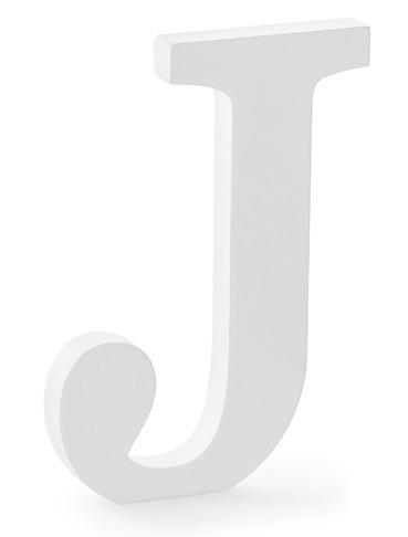 Holz Buchstabe J weiß 14,5 x 20cm
