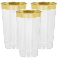 16 Premium Kunststoff Becher mit Goldrand 454ml
