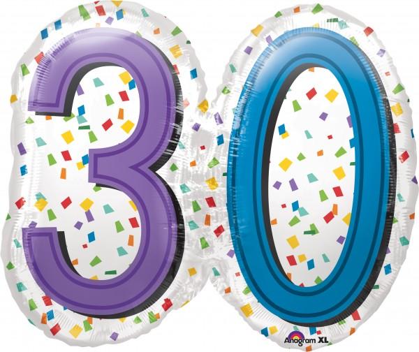 Geburtstagsballon Konfetti Zahl 30 XL