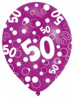6 Luftballons Bubbles 50.Geburtstag Bunt 27,5 cm