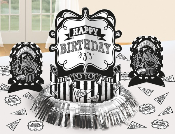 Ensemble de décoration de table anniversaire noir et blanc