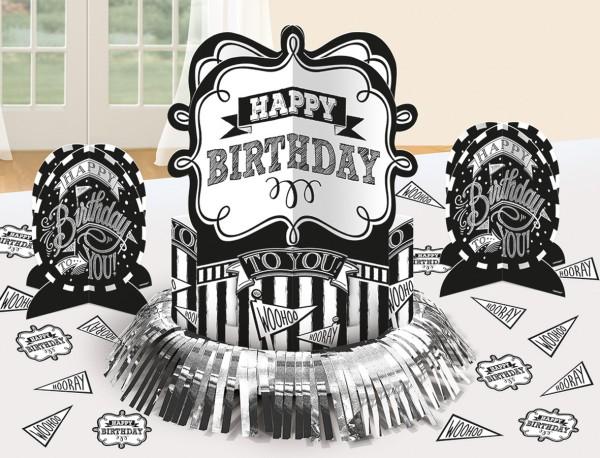 Black & White Birthday Tischdeko Set