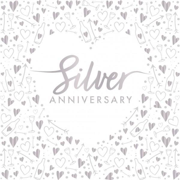 16 Silver Anniversary napkins 33cm