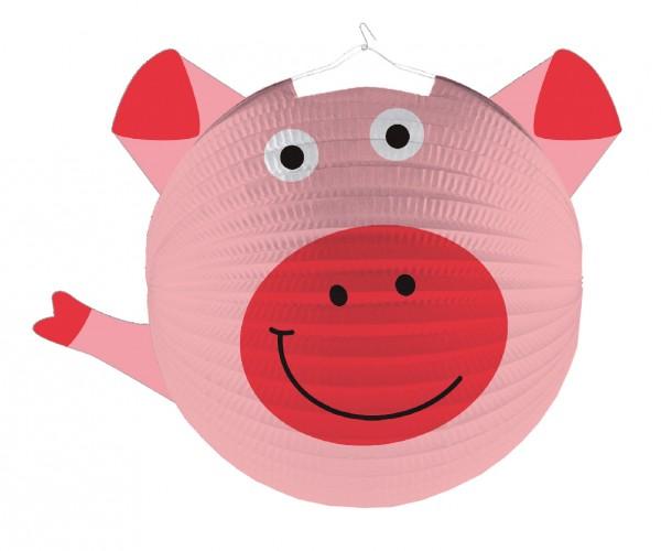 Adorable lanterne animaux de la ferme agitant le cochon