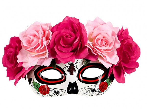 Pinke Rosen Dia De Los Muertos Maske