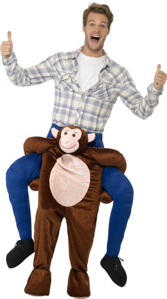 Chimpansee piggyback heren kostuum