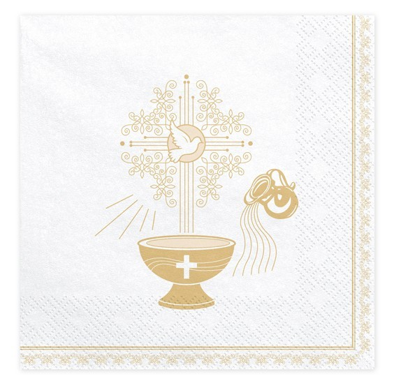 20 tovaglioli fonte battesimale in oro 33 cm