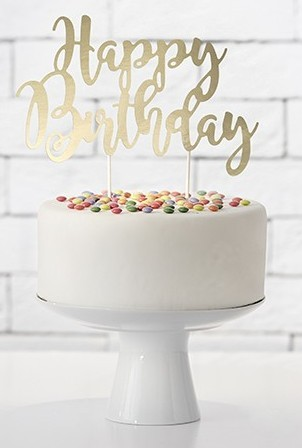 Gold metallic Birthday Tortendeko 22,5cm
