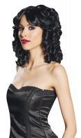 Perruque à boucles noires pour femme