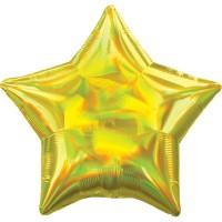 Holografischer Sternballon gelb 45cm