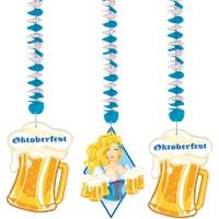 3 Oktoberfest Spiralhänger Bier Liesl 70cm