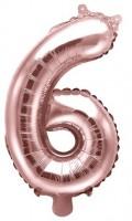 Metallic Zahlenballon 6 roségold 35cm