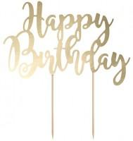 Vorschau: Gold metallic Birthday Tortendeko 22,5cm