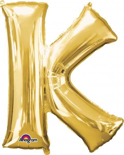 Foil balloon letter K gold 83cm