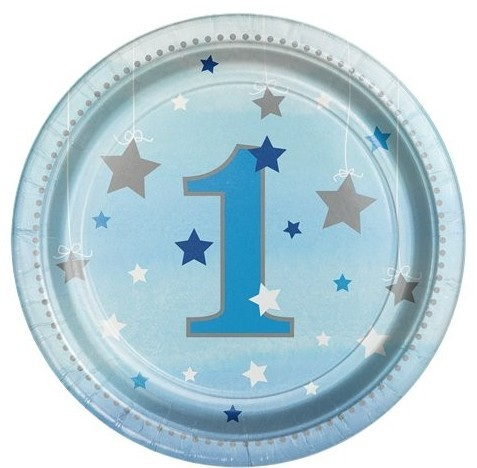 8 Twinkle First Birthday Star Pappteller 18cm