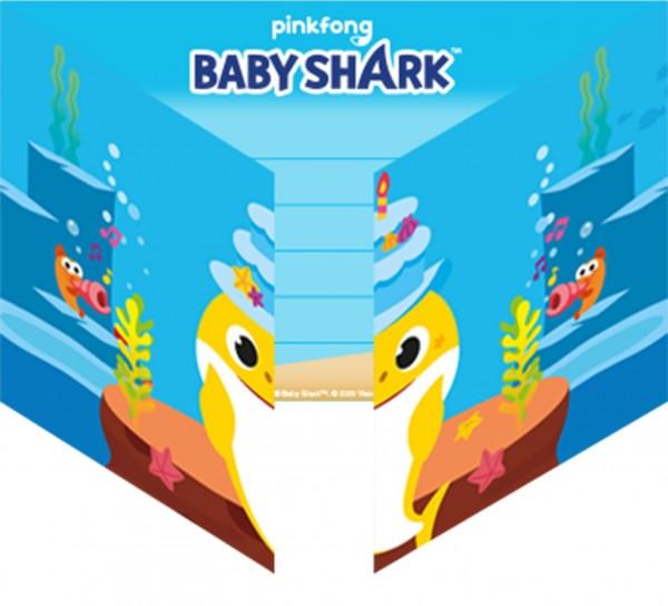 8 cartes d'invitation Baby Shark Family
