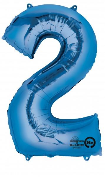 Ballon numéro 2 bleu 88cm