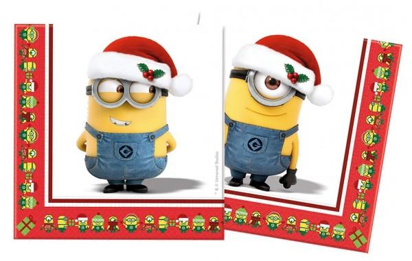20 Minions Christmas Servietten 33cm