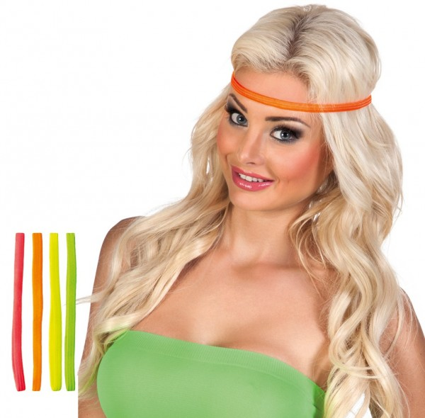 Neon hippie headbands set of 4 pieces