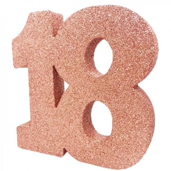 Décoration de table numéro 18 en or rose 20cm