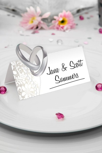 36 place cards wedding rings