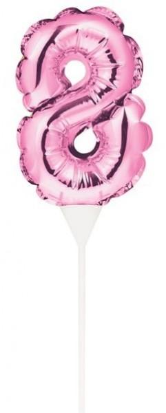 Rosa Zahl 8 Ballon Tortendeko 13cm