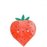 16 Erdbeer Servietten 24x30cm